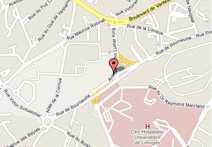 Image : Situation géographique de l'ENSA Limoges, cliquer sur la carte pour accéder à google map