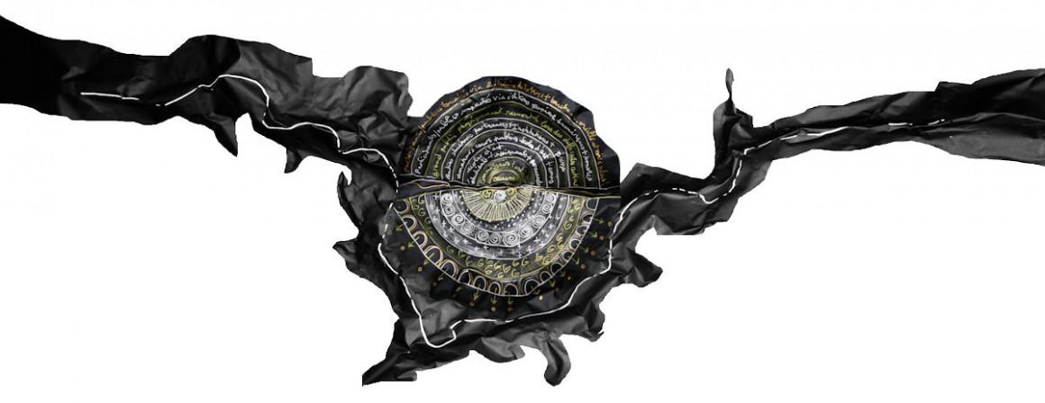 Concept de la 1re Biennale art nOmad, écriture sur blackwrap, 39 x 32 cm, 2015