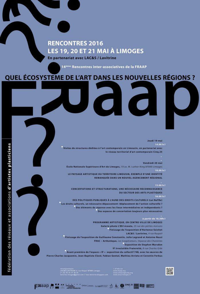 Affiche : programme et rencontres FRAAP 2016