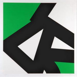 Pierre CLERK, Black/White/Green, 1976 Sérigraphie Collection Faclim