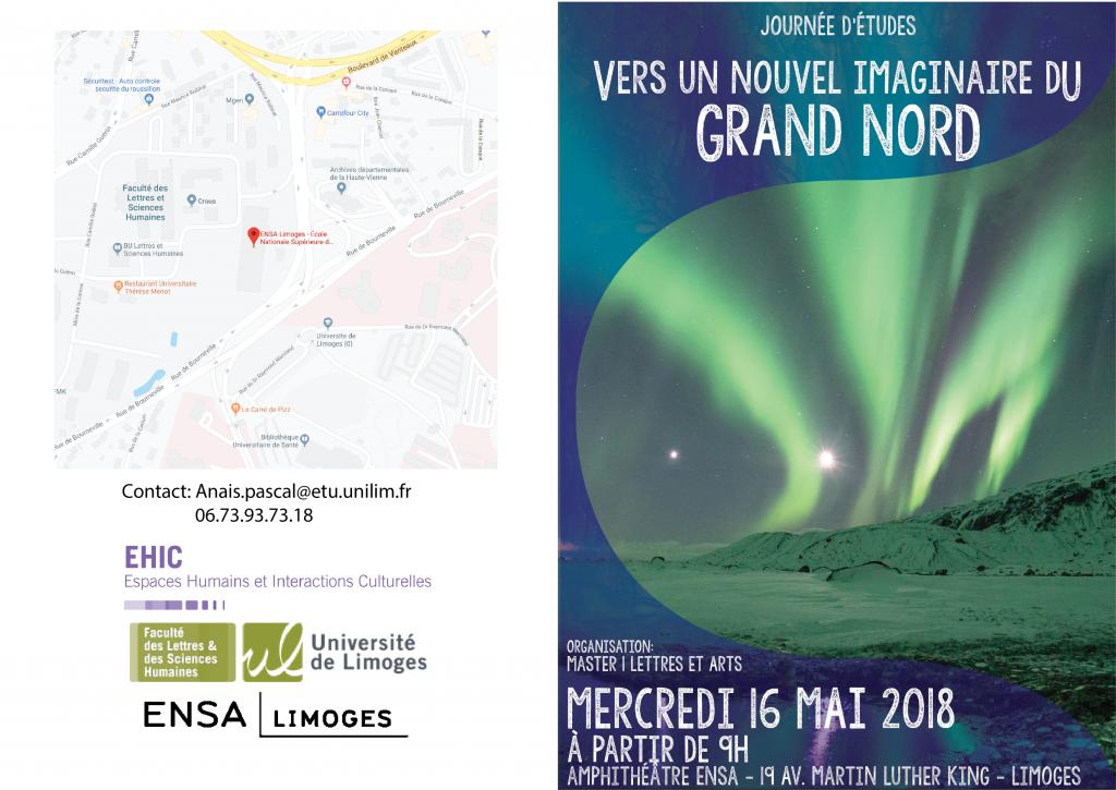 """Affiche et plan d'accès : journée d'études """"Vers un nouvel imaginaire du Grand Nord"""""""