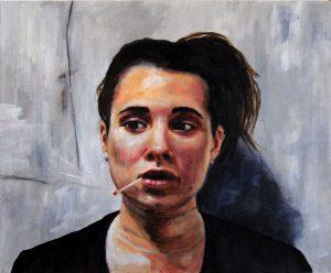 Peinture Romain LARBRE Clémence, 2016 Huile sur toile 46 x 55 cm.