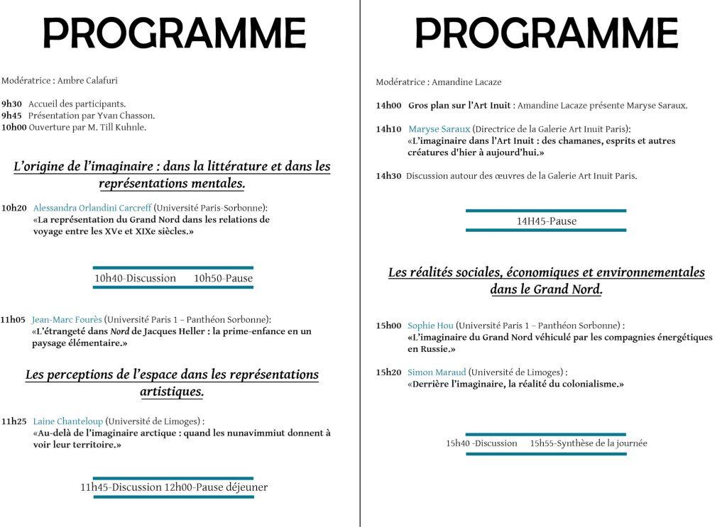 Programme de la Journée d'études CCIC