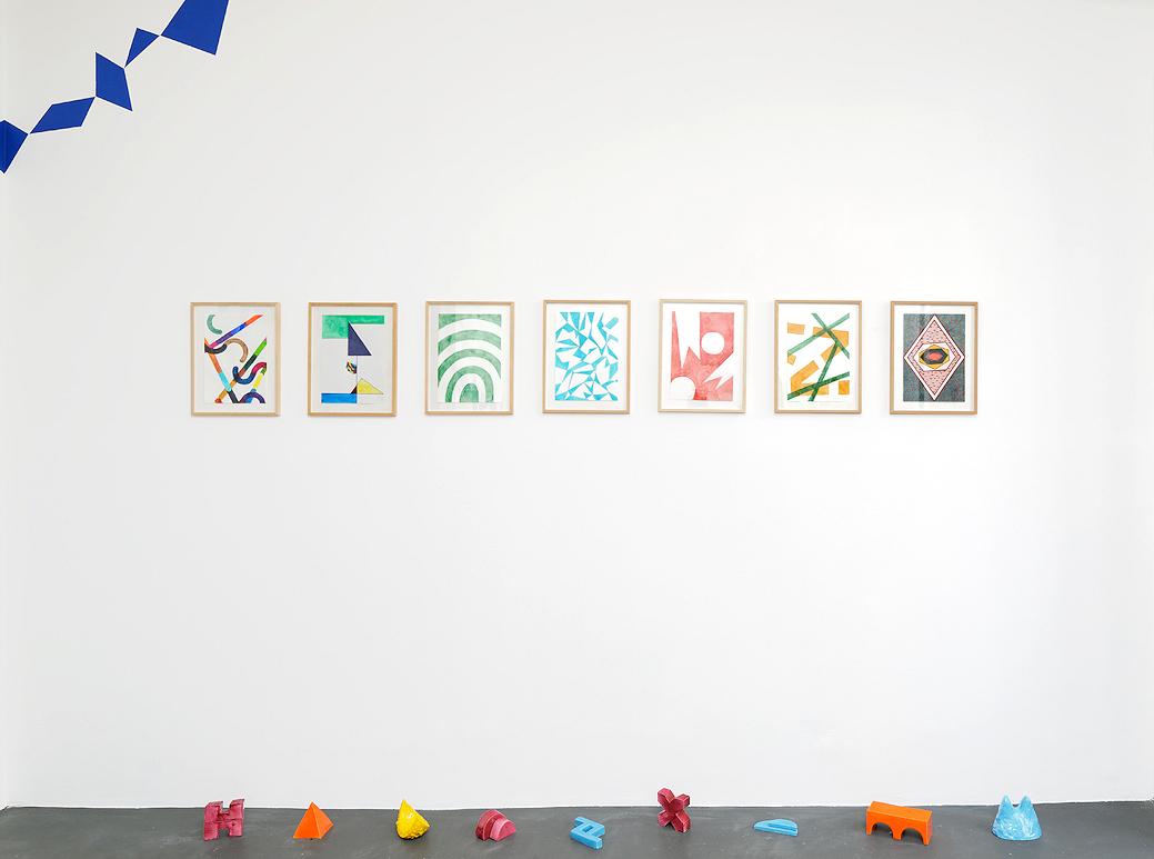 Photo : Roxane Borujerdi, Azur losange, vue d'exposition, galerie Emmanuel Hervé, 2017, crédit photo Aurélien Mole