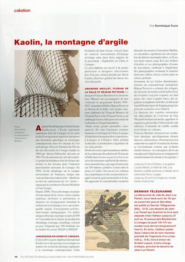 """Publication dans le magazine """"L'actualité de la Nouvelle-Aquitaine"""" N°120 -printemps 2018"""
