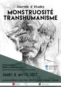 Affiche présentant la journée d'étude du master CCIC : MONSTRUOSITÉ TRANSHUMANISME