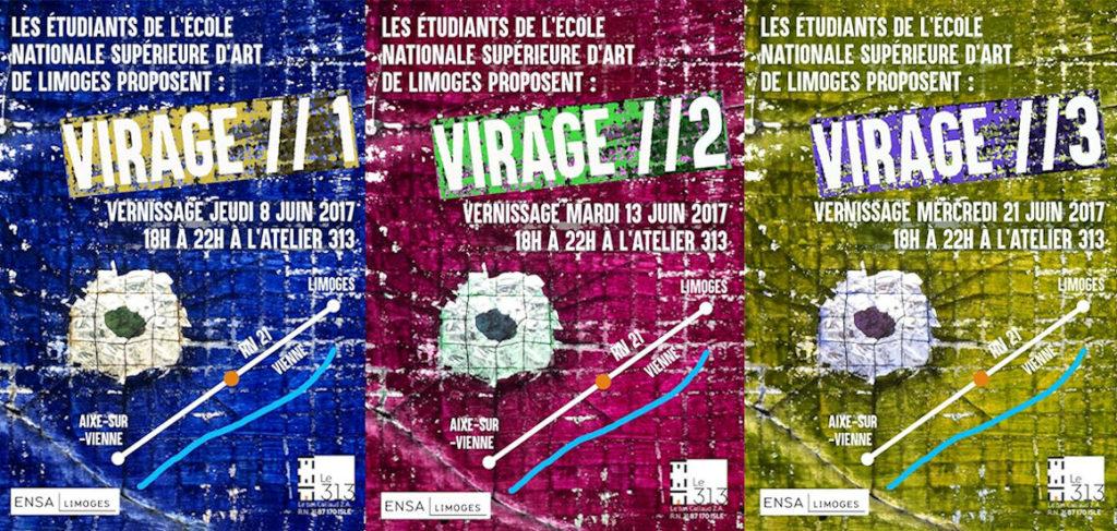 Affiche exposition : VIRAGE 1 – VIRAGE 2 – VIRAGE 3
