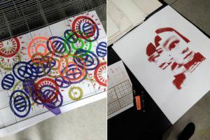 Photos : sérigraphies réalisées à l'atelier éditions-impression de l'ENSA Limoges