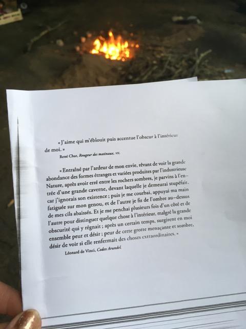 Photo de textes de René Char et de Léonard de Vinci