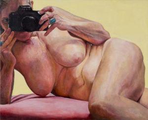 Photo : Oeuvre de Joan Semmel, Coussin Rose, huile sur toile, 112 x 137 cm, 2004, galerie Alexander Gray Associates, New York.