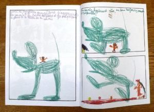 Photo : bande dessinée réalisée par un enfant lors d'un stage avec Roméo Julien