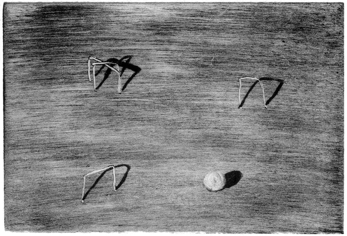 """Image : « Croquet », extrait de """"Il ne faut pas confondre monotype et célibataire 2"""", encre typographique, pointe d'alumette et coton-tige sur papier japon, 6 x 9 cm © 2000-YC-ADAGP."""
