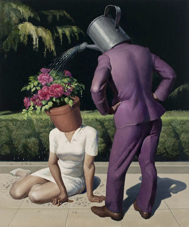 Illustration : Wang Xingwei, Untitled (Watering Flowers), 2013, oil on canvas.
