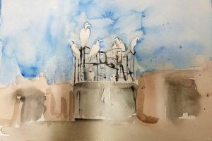Photo : peinture de Maro Michalakakos dans le cadre de sa résidence au CRAFT