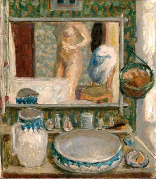 Tableau : Pierre Bonnard, La table de toilette ou la glace, 1908, huile sur toile, H. 1,20; L. 0,97.