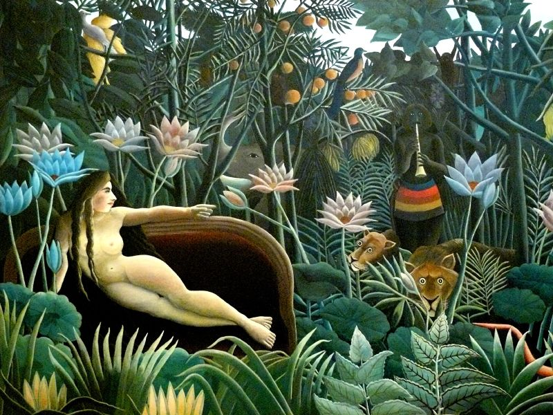 Image : œuvre du Douanier Rousseau, Le Rêve, (femme dans le canapé), 1910, huile sur toile, H. 2,04m x L. 2,98m