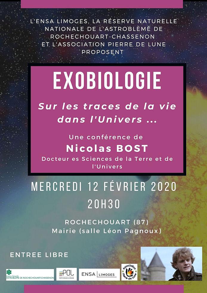 Affiche : exobiologie, conférence de Nicolas Bost
