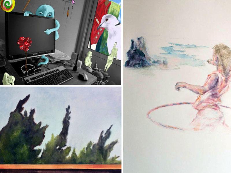 photos : dessins d'imagination et peintures à l'huile - cours publics avec Romain Larbre