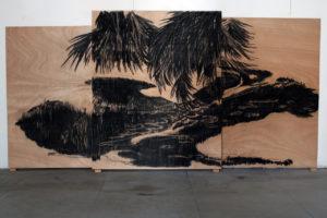 Photo : delphine Gigoux-martin, les bois brûles, fusain sur bois