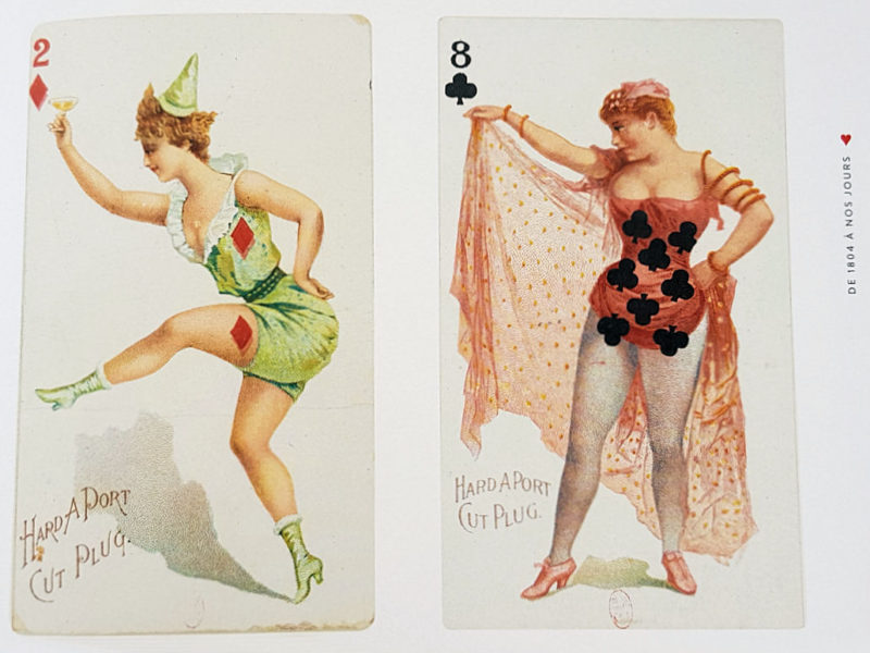 "illustration d'entête de page ""PIN-UP ET CARTES A JOUER""( Tabacco insert playing card, New-York, 1890)"