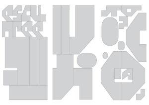 Signalétique le Sirque : panneau, typographie Benoît Bodhuin