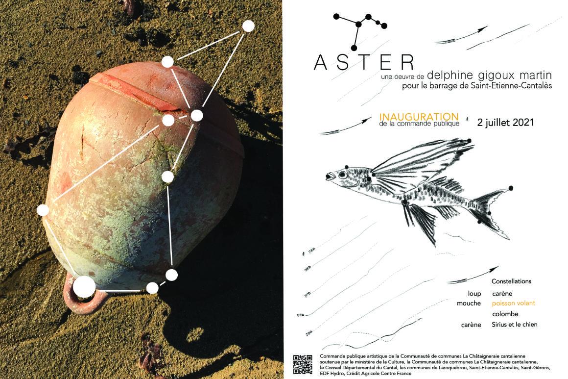 Image : carton d'invitation pour l'inauguration du projet Aster réalisé par Delphine Gigoux-Martin