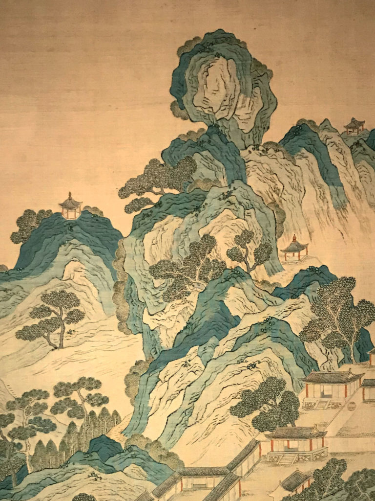 """""""Gesi Jinshan"""" peinture sur rouleau (détail), auteur anonyme, entre XIVe et XVe siècles. Collection du Musée du Palais - Cité Interdite, Chine."""