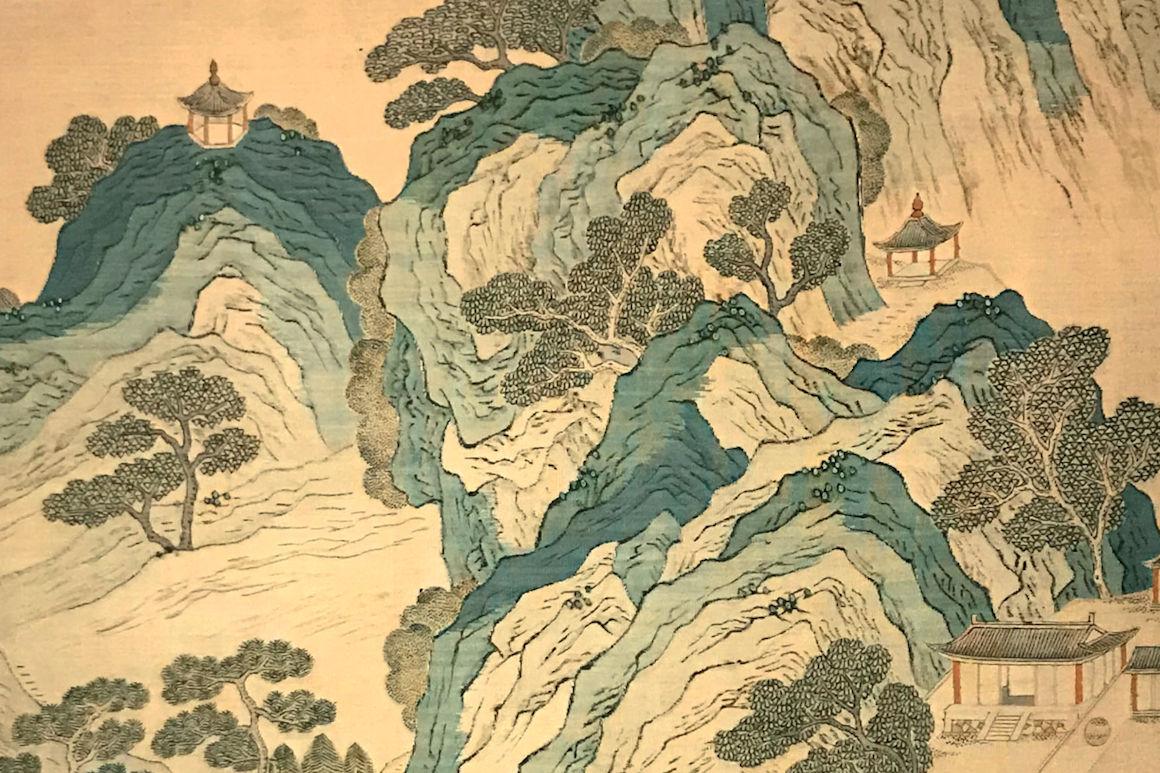 """Image : détail """"Gesi Jinshan »,peinture sur rouleau, auteur anonyme, entre XIVe et XVe siècles. Collection du Musée du Palais - Cité Interdite, Chine."""