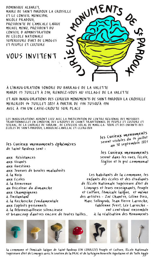 Image : invitation à l'inauguration des curieux monuments de St-Pardoux la Croisille
