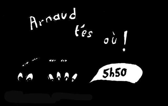 Dessin : départ de la 3ème triennale d'art nOmad - Arnac-la-Poste - Dessin de Jean-Marc Montels
