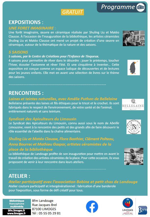 Image : programme d'inauguration bibliothèque Landouge
