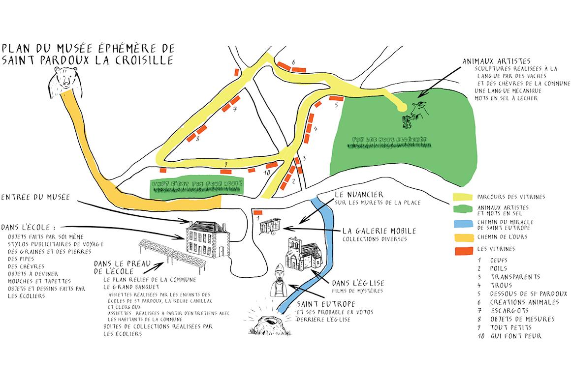 Plan du musée éphémère de Saint-Pardoux-la-Croisille.